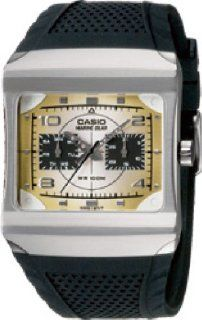 Casio MRP 300 7AV Mens Watch Stainless Steel Marine Gear Gold Tone Square Dial Black Rubber Strap Watches