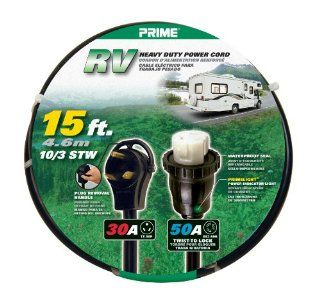 Prime RV3050T915 RV Power Cord, 15 ft.30 Amp right angle plug with handle and 50 Amp Twist to Lock Connector   Electrical Wires
