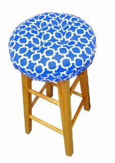 "Round Indoor / Outdoor Barstool Cover with Padded Cushion and Drawstring Yoke   Hockley Geometric Pattern   Latex Foam Fill Bar Stool Pad   Fade Resistant, Mildew Resistant (Blue, 13"" Round)   Chair Pads"