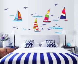 Createforlife Home Decoration Art Vinyl Mural Wall Sticker Decal Sailing Boat Sea Birds Decal Paper   Baby Room Wall Decals Sea