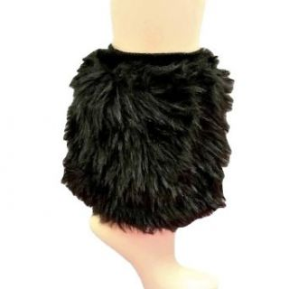 Luxury Divas Black Faux Fur Leg Warmer Muff Boot Cover Luxury Divas Faux Fur