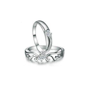 Valentines Day Gift 100% Real 925 Sterling Silver Prince and Princess Lover Ring. TOP Quality. [STYLE  MEN  SIZE (US)  9] Jewelry
