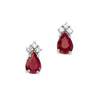 14K White Gold Pear Ruby and Diamond Earrings Vishal Jewelry Jewelry