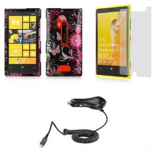 Nokia Lumia 928   Accessory Combo Kit   Magenta Chrysanthemum Butterfly Flowers Design Shield Case + Atom LED Keychain Light + Screen Protector + Micro USB Car Charger Cell Phones & Accessories
