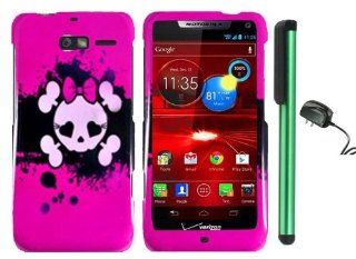 Pink Black Heart Love Eye Cute Skull Premium Design Protector Hard Cover Case for Motorola DROID RAZR M XT907 (Verizon) + Luxmo Brand Travel (Wall) Charger + Combination 1 of New Metal Stylus Touch Screen Pen Cell Phones & Accessories