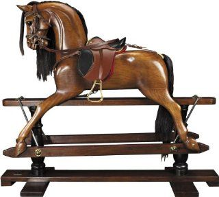 Victorian Rocking Horse   19th Century Replica   Features Hand Carved Mahogany in French Finish   Handmade Saddle with Real Leather   Authentic Models RH006   Childrens Rocking Ride Ons