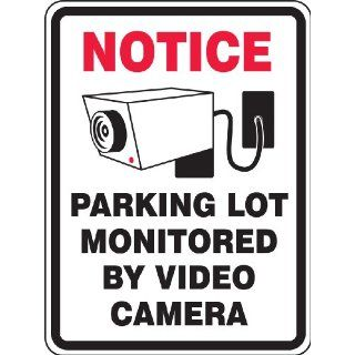 "Accuform Signs FRP911RA Engineer Grade Reflective Aluminum Facility Traffic Sign, Legend ""NOTICE PARKING LOT MONITORED BY VIDEO CAMERA"" with Graphic, 18"" Width x 24"" Length x 0.080"" Thickness, Black on White Industrial & Scien"