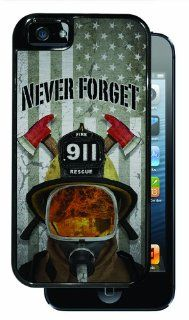Never Forget 911 Firefighter Helmet with Flag BRUSHED ALUMINUM   Black iPhone 5, 5s Dual Protective Durable Case Cell Phones & Accessories