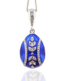 Beautiful Blue Egg Reversible Sterling Silver 935 Hand Enameled Pendant Jewelry