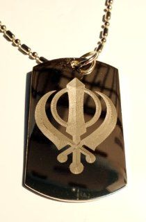 Sihk Sihkism Waya Guru Khanda Khalsa Sword Religious Symbol   Military Dog Tag, Luggage Tag Key Chain Metal Chain Necklace