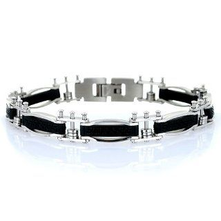Mens Greek Key Design Designer Stainless Steel Bracelet, Stylish links with a centre etched plate with a Greek key design. Jewelry