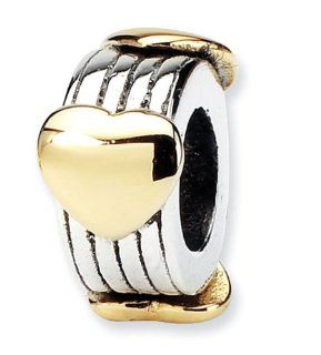 Plated 14k Gold Hearts 925 Sterling Silver Charm Bead Jewelry
