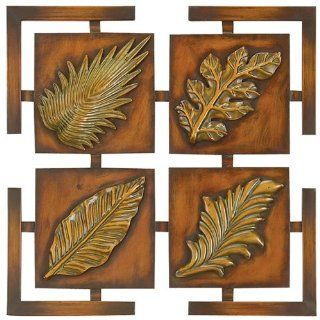 "Decorative Deluxe 16"" Square Metal Leaves Wall Art Decor   Wall Sculptures"