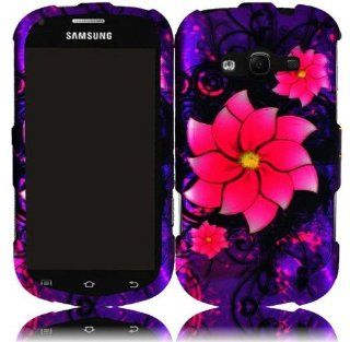 Purple Pink Flower Hard Cover Case for Samsung Galaxy Reverb SPH M950 Cell Phones & Accessories