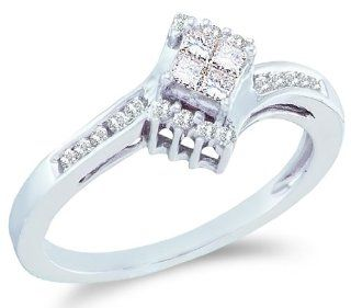 14k White Gold Diamond Engagement Solitaire Invisible Style Center Setting with Side Stones Princess and Round Brilliant Cut Diamond Ring (1/4 cttw) Jewelry