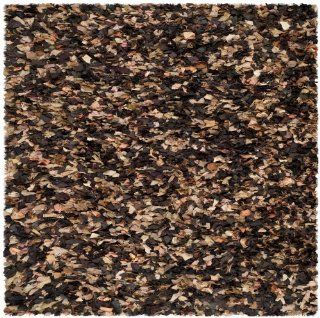 Safavieh SG951B Shag Collection Square Area Rug, 6 Feet, Brown/Multi   Dark Brown Square Rug