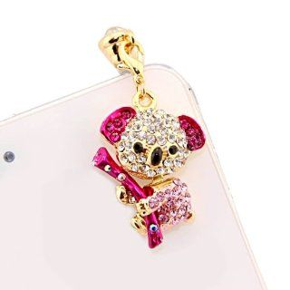 Mavis's Diary Luxury Bling 3d Earphone Jack Accessory 3.5mm of Cute Bear Crystal Dust Plug / Ear Jack for Iphone 3 3gs 4 4s 5;apple Ipad 1 2 3 4 Mini;samsung Note 2 N7100;samsung Galaxy S3 I9300, I8190, I8262d, S2 I9100, I9268, S5830, I9000;samsung Gal