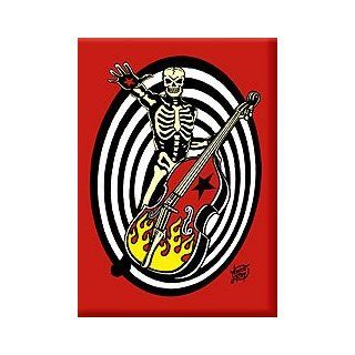 Artist Vince Ray Psycho Sonic Rockabilly Bass Skeleton Fridge Magnet Refrigerator Magnets Kitchen & Dining