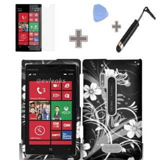 Zizo (TM) Rubberized Black White Silver Vine Flowers Snap on Design Case Hard Case Skin Cover Faceplate with Screen Protector, Case Opener and Stylus Pen for Nokia Lumia 928   Verizon Cell Phones & Accessories