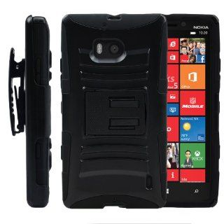 MINITURTLE, High Impact Rugged Hybrid Dual Layer Protective Phone Armor Case Cover with Built in Kickstand and Swiveling Holster Belt Clip for Windows 8 Smartphone Nokia Lumia 929 Icon /Verizon (Black) Cell Phones & Accessories