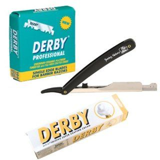 SF209 Shaving Factory Straight Razor (Black), 100 Derby Professional Single Edge Razor Blades and Derby Shaving Cream (Lemon scent). Great Valentines Day Gift Set For Men. Health & Personal Care