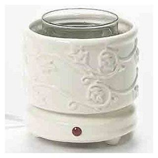 Cachepot Electric Candle Warmer   Embrossed Leaves (White), A decorative jar candle holder and candle warmer in one # 54264   Home Decor Products