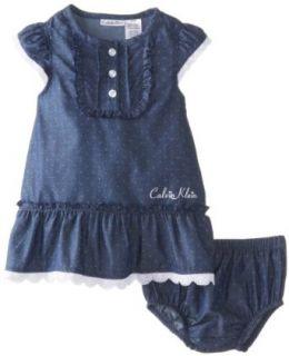 Calvin Klein Baby Girls Infant Chambray Dress with Panty, Chambrey, 18 Months Clothing