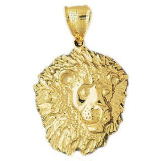 14K Yellow Gold Lion Head Pendant Jewelry