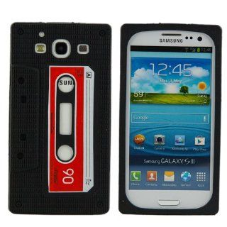 BLACK Soft Silicone Cassette Tape Style Cover For Samsung Galaxy S3 S III i9300 Cell Phones & Accessories