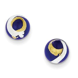 Sterling Silver Blue, Gold & Silver Color Italian Murano Earrings, Best Quality Free Gift Box Satisfaction Guaranteed Jewelry