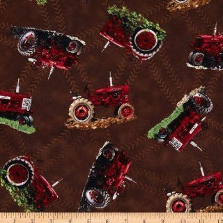 International Harvester Big Red Tractor Toss Brown Fabric