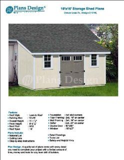 10' x 16' Deluxe Back Yard Storage Shed Project Plan, Lean To / Slant Roof Style Design # D1016L   Woodworking Project Plans