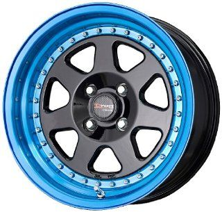 "Drag DR 27 Black Wheel with Blue Tint Finish (15x7""/4x100mm) Automotive"
