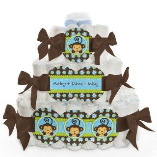 Monkey Boy   3 Tier Personalized Square   Baby Shower Diaper Cake  Baby Diapering Gift Sets  Baby
