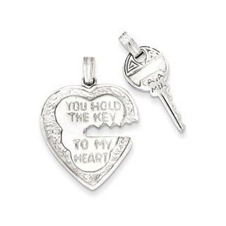 Heart and Key Charms  Sterling Silver Heart and Key Charms Jewelry