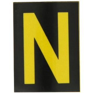 "Brady 5890 N Bradylite 1 7/8"" Height, 1 3/8 Width, B 997 Engineering Grade Bradylite Reflective Sheeting, Yellow On Black Reflective Letter, Legend ""N"" (Pack Of 25) Industrial Warning Signs"