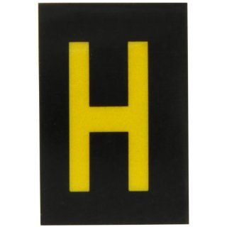 "Brady 5905 H Bradylite 1 1/2"" Height, 1 Width, B 997 Engineering Grade Bradylite Reflective Sheeting, Yellow On Black Reflective Letter, Legend ""H"" (Pack Of 25) Industrial Warning Signs"