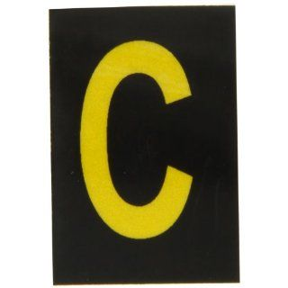 "Brady 5905 C Bradylite 1 1/2"" Height, 1 Width, B 997 Engineering Grade Bradylite Reflective Sheeting, Yellow On Black Reflective Letter, Legend ""C"" (Pack Of 25) Industrial Warning Signs"