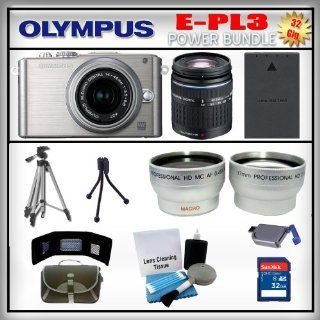 Olympus PEN E PL3 Silver 12MP Digital Camera   Olympus 14 42mm Lens   Olympus 40 150mm Lens   Wide Angle and Telephoto Zoom Lens   32GB SDHC Memory Card   USB Memory Card Reader   Memory Card Wallet   Spare Battery   Carrying Case   Lens Cleaning Kit   Ful