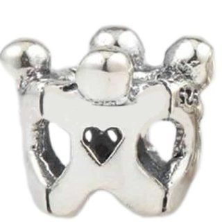 "Pro Jewelry .925 Sterling Silver ""4 Children Holding Hands"" Charm Bead for Snake Chain Charm Bracelets Jewelry"