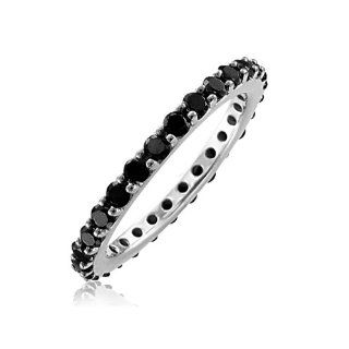 14k White Gold BLACK Diamond Eternity Band Ring   1.00 carat Diamond Delight Jewelry