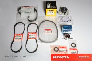 Genuine OEM Factory Fit Honda Civic Year 1996 1.6 Liter / 4 Cylinder DX Coupe 2 Door, EX Coupe 2 Door, HX Coupe 2 Door, CX Hatchback 3 Door, DX Hatchback 3 Door, DX Sedan 4 Door, EX Sedan 4 Door, LX Sedan 4 Door V4 1590CC Enginess Timing Belt and Water Pum