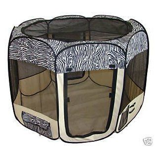 Pet Travel, Indoor or Outdoor Pet Dog Cat Play Yard / Tent *Zebra* *Large*   Outdoor Pet Pens