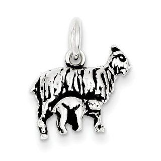 Sterling Silver Antiqued Goat Charm, Best Quality Free Gift Box Satisfaction Guaranteed Jewelry