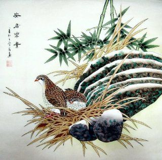 Birds   Original Chinese Ink/Brush Artwork   Traditional Oriental Watercolor Painting   Asian Fine Art