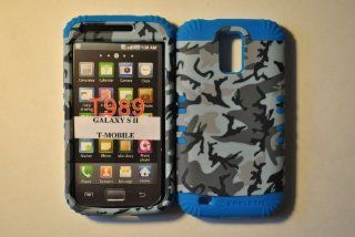 2 IN 1 HYBRID CASE BLACK& GREY RANDOM SHAPES CAMO SNAP ON + BLUE GEL FOR SAMSUNG GALAXY SII T989 HERCULES FOR TMOBILE Cell Phones & Accessories