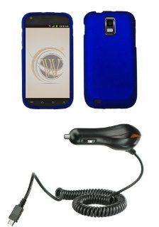Samsung Galaxy S II SGH T989 (T Mobile) Premium Combo Pack   Blue Rubberized Shield Hard Case Cover + Atom LED Keychain Light + Car Charger Cell Phones & Accessories