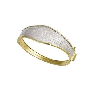 April Venus 2 tone Graduated Byzantine Wickerwork Bangle (Gold Plated Silver) April Venus Jewelry