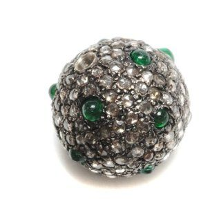 12mm Diamond Pave Emerald Bead .925 Sterling Silver Charm Jewelry Jewelry