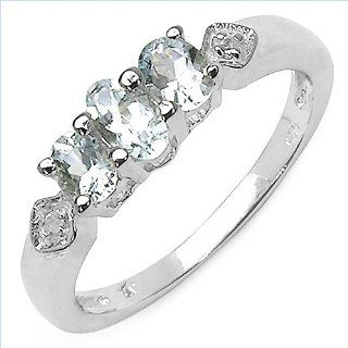 .925 Sterling Silver Blue Aquamarine White Topaz Oval Cut 3 Stone Ring Band Size 7 Promise Rings Jewelry